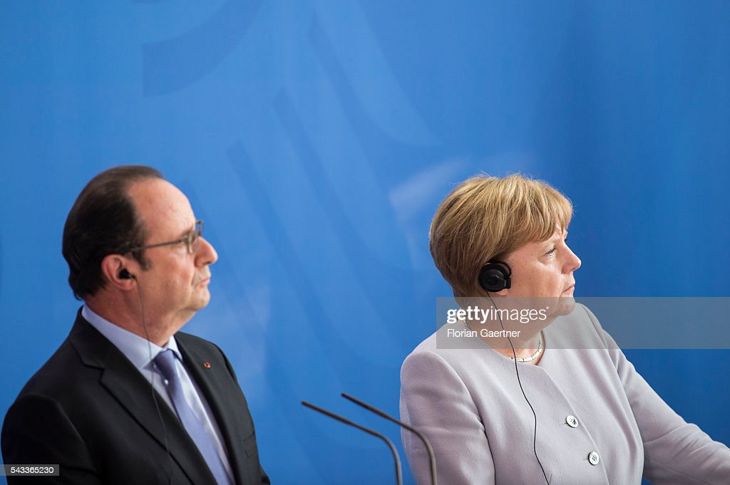 German Chancellor Angela Merkel and French President Francois Hollande attend a press conference on June 27, 2016 in Berlin, Germany. Merkel hosted talks with Hollande and Renzi to discuss the UK's decision to leave the European Union.