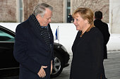 German Chancellor Angela Merkel and French Prime Minister JeanMarc Ayrault wait for the arrival of French President at the Chancellery for a meeting...