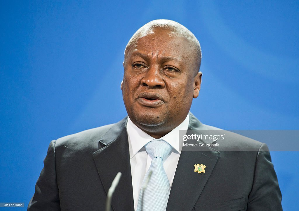 German Chancellor Angela Merkel (not pictured) and Ghana President <a gi-track='captionPersonalityLinkClicked' href=/galleries/search?phrase=John+Dramani+Mahama&family=editorial&specificpeople=6829053 ng-click='$event.stopPropagation()'>John Dramani Mahama</a> attend a press conference in Chancellery on January 19, 2015 in Berlin, Germany.