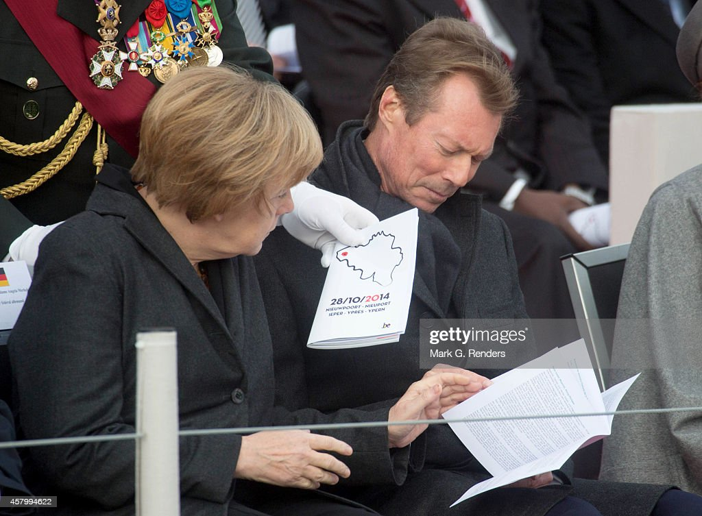 German Chancellor Angela Merkel and Grand Duke Henri of Luxembourg attend the Commemoration of the 100th anniversary of WWI on October 28, 2014 in Nieuwpoort, Belgium.