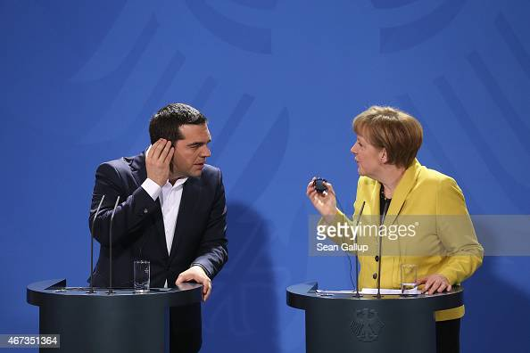 German Chancellor Angela Merkel and Greek Prime Minister Alexis Tsipras speak to the media following talks at the Chancellery on March 23 2015 in...