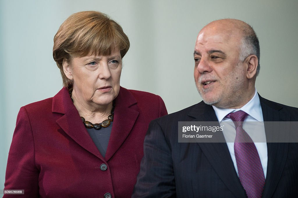 German Chancellor Angela Merkel and Haider al-Abadi, Prime Minister of Iraq, before a press conference on February 11, 2016 in Berlin.