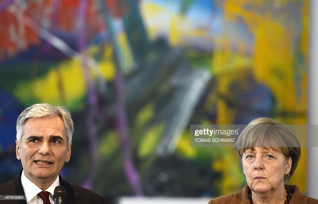 German Chancellor Angela Merkel and her Austrian counterpart Werner Faymann address a press conference on November 19 2015 at the Chancellery in...