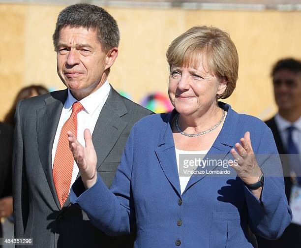 German Chancellor Angela Merkel and her husband Joachim Sauer visit the Expo 2015 on August 17 2015 in Milan Italy