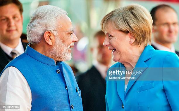 German Chancellor Angela Merkel and India's Prime Minister Narendra Modi during German India Government consultations on October 05 2015 in New Delhi...