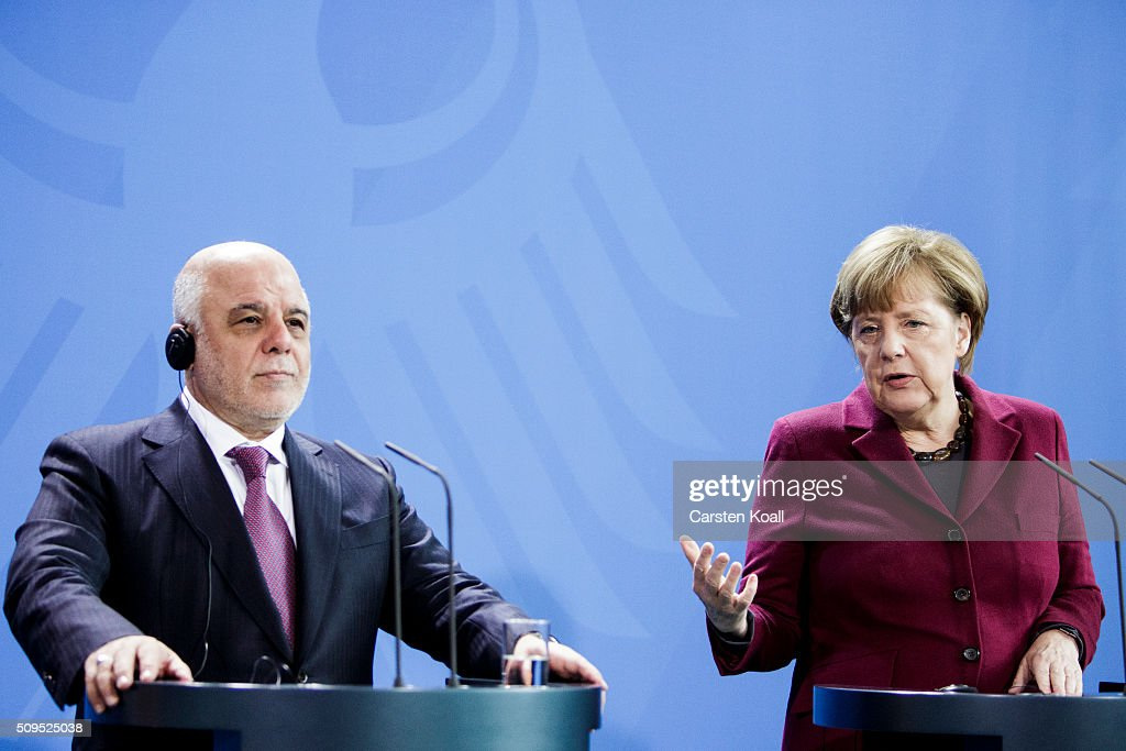 German Chancellor <a gi-track='captionPersonalityLinkClicked' href=/galleries/search?phrase=Angela+Merkel&family=editorial&specificpeople=202161 ng-click='$event.stopPropagation()'>Angela Merkel</a> and Iraqi Prime Minister Haider al-Abadi speak to the media following talks at the Chancellery on February 11, 2016 in Berlin, Germany. The two leaders discussed, among other issues, the security situation in Iraq as well as the recent influx of large numbers of migrants and refugees from Iraq into Germany.