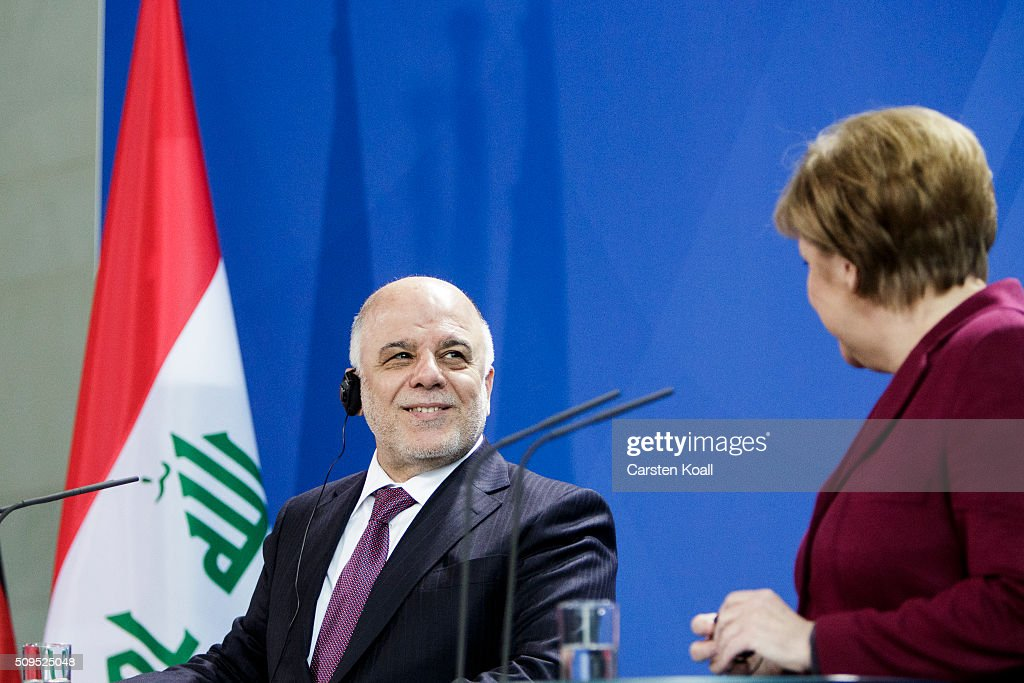 German Chancellor Angela Merkel and Iraqi Prime Minister Haider al-Abadi speak to the media following talks at the Chancellery on February 11, 2016 in Berlin, Germany. The two leaders discussed, among other issues, the security situation in Iraq as well as the recent influx of large numbers of migrants and refugees from Iraq into Germany.