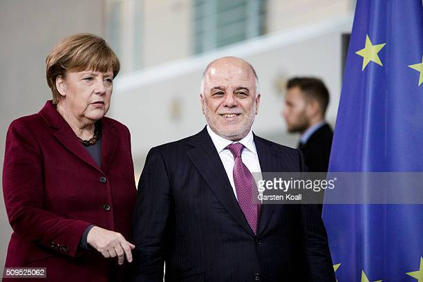 German Chancellor Angela Merkel and Iraqi Prime Minister Haider alAbadi arrive to speak to the media following talks at the Chancellery on February...