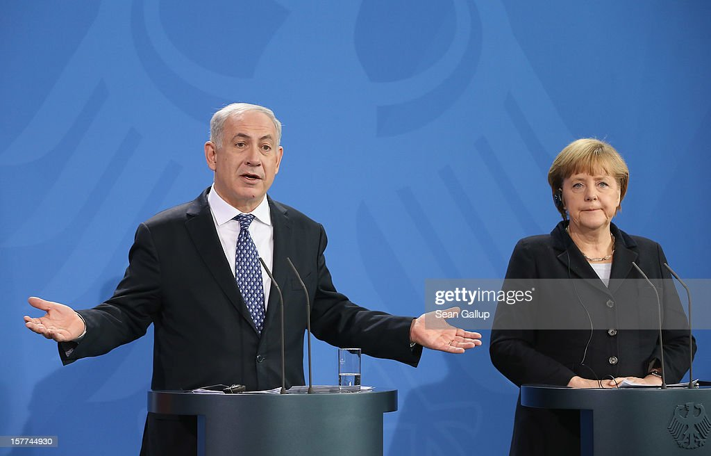 German Chancellor <a gi-track='captionPersonalityLinkClicked' href=/galleries/search?phrase=Angela+Merkel&family=editorial&specificpeople=202161 ng-click='$event.stopPropagation()'>Angela Merkel</a> and Israeli Prime Minister <a gi-track='captionPersonalityLinkClicked' href=/galleries/search?phrase=Benjamin+Netanyahu&family=editorial&specificpeople=118594 ng-click='$event.stopPropagation()'>Benjamin Netanyahu</a> speak to the media following talks at the Chancellery on December 6, 2012 in Berlin, Germany. The German and Israeli governments are meeting today in Berlin for German-Israeli government consultations.