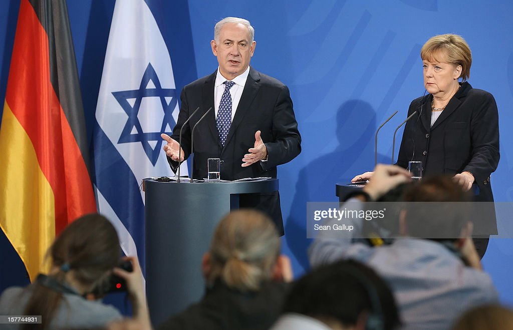German Chancellor <a gi-track='captionPersonalityLinkClicked' href=/galleries/search?phrase=Angela+Merkel&family=editorial&specificpeople=202161 ng-click='$event.stopPropagation()'>Angela Merkel</a> and Israeli Prime Minister Benjamin Netanyahu speak to the media following talks at the Chancellery on December 6, 2012 in Berlin, Germany. The German and Israeli governments are meeting today in Berlin for German-Israeli government consultations.