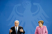 German Chancellor Angela Merkel and Israeli Prime Minister Benjamin Netanyahu attend a press conference at the Chancellery following the 6th...