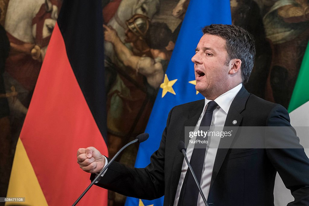 German Chancellor Angela Merkel and Italian Prime Minister Matteo Renzi give a press conference during a meeting in Rome's Palazzo Chigi government office on May 05, 2016. EU president Donald Tusk travels to Rome with fellow EU institution leaders and German Chancellor Angela Merkel for two days of talks likely to focus on next steps in Europe's migrant crisis.