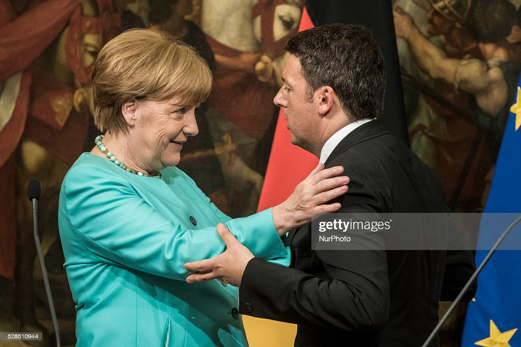 German Chancellor <a gi-track='captionPersonalityLinkClicked' href=/galleries/search?phrase=Angela+Merkel&family=editorial&specificpeople=202161 ng-click='$event.stopPropagation()'>Angela Merkel</a> and Italian Prime Minister <a gi-track='captionPersonalityLinkClicked' href=/galleries/search?phrase=Matteo+Renzi&family=editorial&specificpeople=6689301 ng-click='$event.stopPropagation()'>Matteo Renzi</a> give a press conference during a meeting in Rome's Palazzo Chigi government office on May 05, 2016. EU president Donald Tusk travels to Rome with fellow EU institution leaders and German Chancellor <a gi-track='captionPersonalityLinkClicked' href=/galleries/search?phrase=Angela+Merkel&family=editorial&specificpeople=202161 ng-click='$event.stopPropagation()'>Angela Merkel</a> for two days of talks likely to focus on next steps in Europe's migrant crisis.