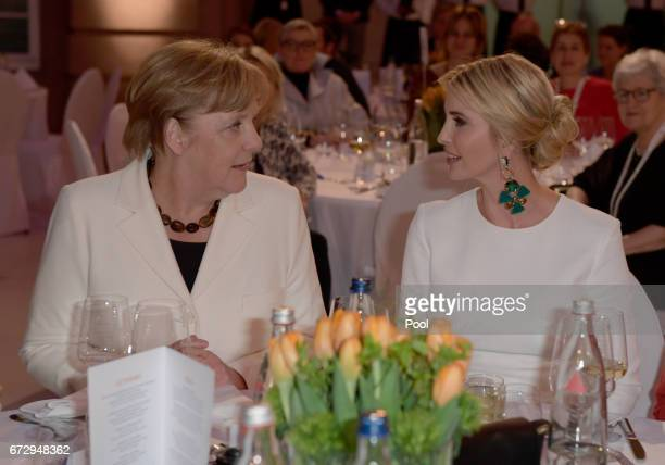 German Chancellor Angela Merkel and Ivanka Trump daughter of US President Donald Trump arrives at a Gala Dinner at Deutsche Bank within the framework...