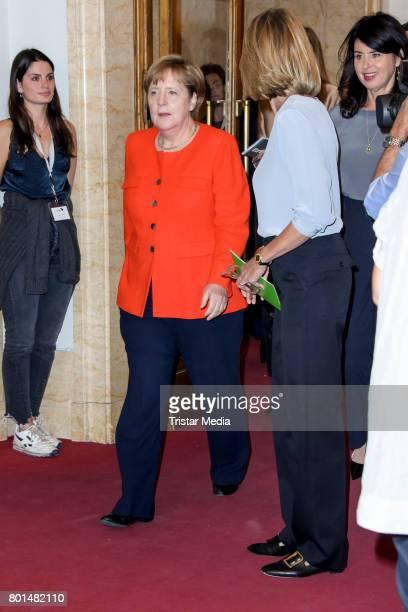 German chancellor Angela Merkel and Julia Jaekel during the Brigitte Live Conversation with Angela Merkel on June 26 2017 in Berlin Germany