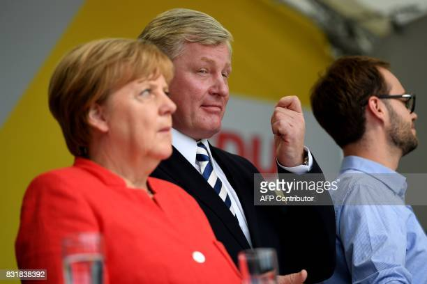 German Chancellor Angela Merkel and Lower Saxony's CDU prime minister and candidate Bernd Althusmann attend an election campaign event of the...