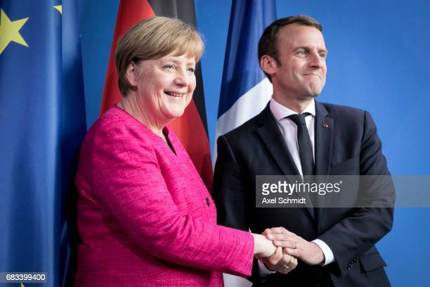 German Chancellor Angela Merkel and newlyelected French President Emmanuel Macron attend a press conference at the Chancellery on May 15 2017 in...