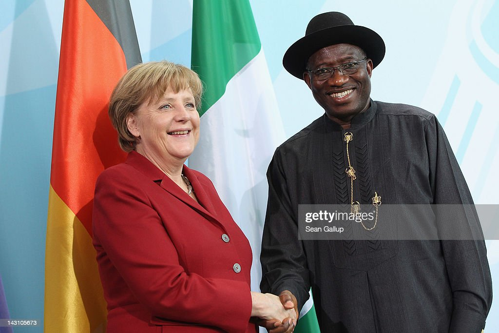 German Chancellor Angela Merkel and Nigerian President <a gi-track='captionPersonalityLinkClicked' href=/galleries/search?phrase=Goodluck+Jonathan&family=editorial&specificpeople=4124968 ng-click='$event.stopPropagation()'>Goodluck Jonathan</a> shake hands after speaking to the media following talks at the Chancellery on April 19, 2012 in Berlin, Germany. The two leaders discussed economic cooperation between their two countries as well as security issues.
