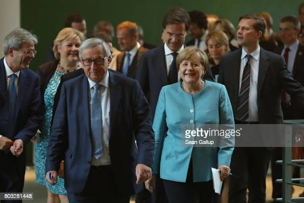 German Chancellor Angela Merkel and other European Union leaders including Italian Prime Minister Paolo Gentiloni Norwegian Prime Minister Erna...