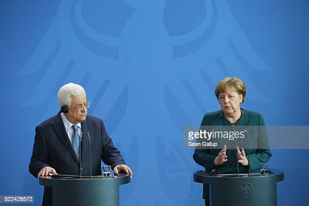 German Chancellor Angela Merkel and Palestinian President Mahmoud Abbas speak to the media following talks at the Chancellery on April 19 2016 in...
