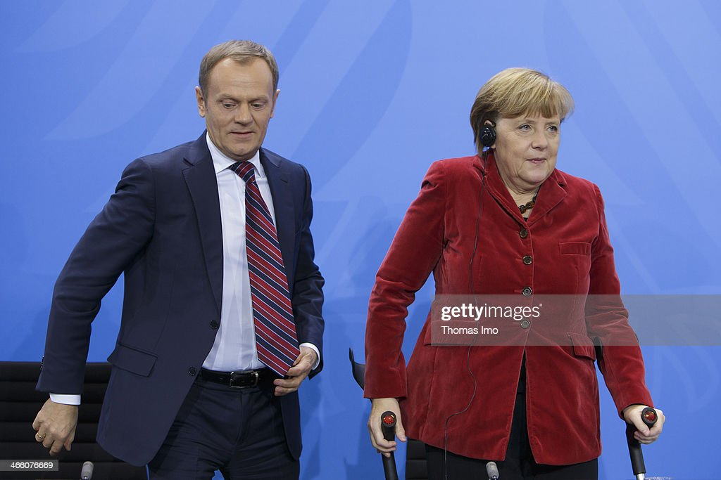 German Chancellor Angela Merkel and Polish Prime Minister Donald Tusk speaks to the media after their meeting on January 31, 2014 in Berlin, Germany.