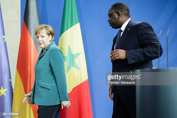 German Chancellor Angela Merkel and President of Senegal Macky Sall speak to the media after their meeting in the Chancellery on March 31 2014 in...