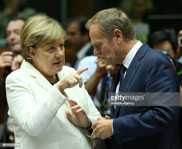German Chancellor Angela Merkel and President of the European Council Donald Tusk attend the European Council Meeting at the Council of the European...