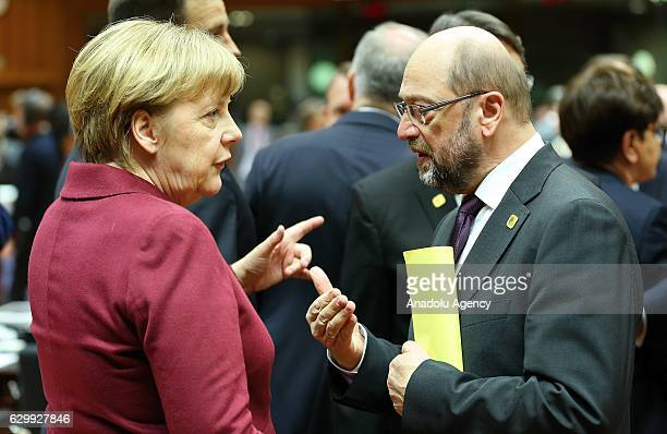 German Chancellor Angela Merkel and President of the European Parliament Martin Schulz attend the European Union Leaders Summit in Brussels Belgium...