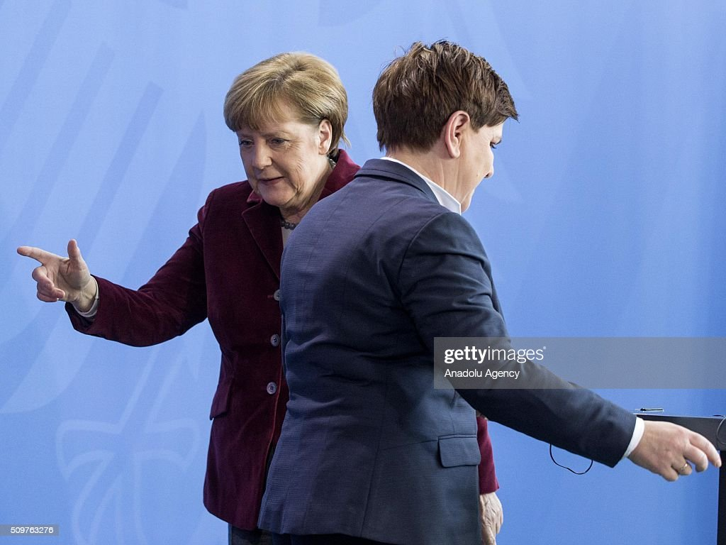 German Chancellor Angela Merkel (L) and Prime Minister of Poland Beata Szydlo (R) attend a joint press conference after their meeting at German Chancellery in Berlin, Germany on February 12, 2016.