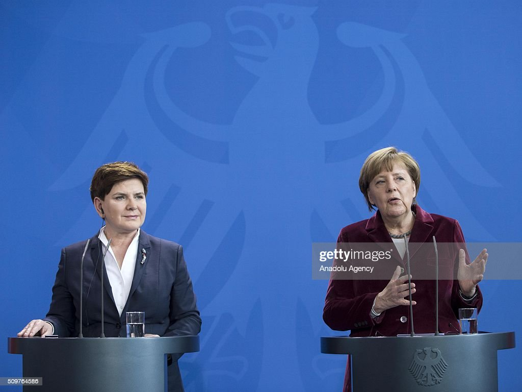 German Chancellor Angela Merkel (R) and Prime Minister of Poland Beata Szydlo (L) attend a joint press conference after their meeting at German Chancellery in Berlin, Germany on February 12, 2016.