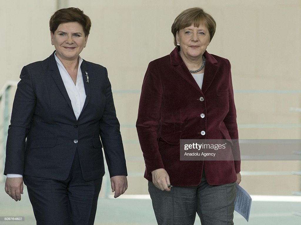 German Chancellor Angela Merkel (R) and Prime Minister of Poland Beata Szydlo (L) arrive to attend a joint press conference after their meeting at German Chancellery in Berlin, Germany on February 12, 2016.