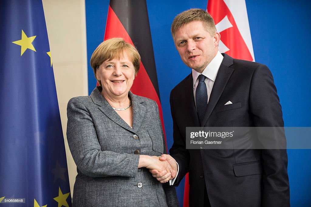 German Chancellor Angela Merkel and Robert Fico Prime Minister of Slowakia shake hands after their press conference on June 16 2016 in Berlin Germany...