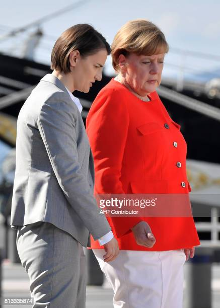 German Chancellor Angela Merkel and Serbian Prime Minister Ana Brnabic attend the Western Balkans summit in Piazza Unita d'Italia in Trieste northern...