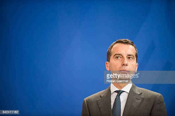 German Chancellor Angela Merkel and the Chancellor of Austria Christian Kern speak to the media on June 23 2016 in Berlin Germany Christian Kern...