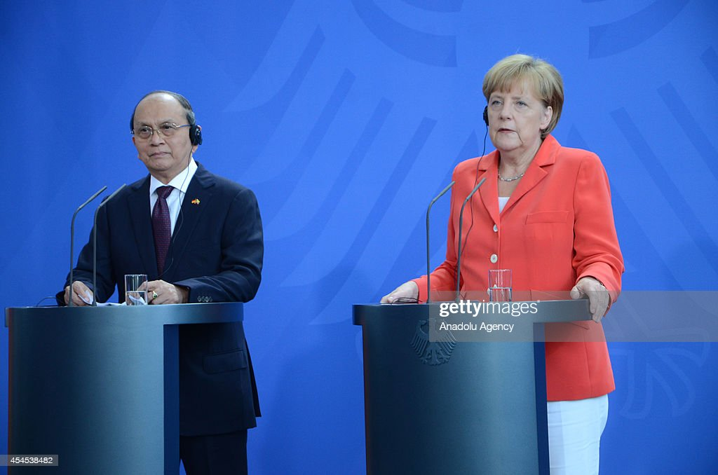 German Chancellor Angela Merkel (R) and the President of Myanmar, Thein Sein (L) attend a press conference at the Chancellery in Berlin, Germany on September 03, 2014.