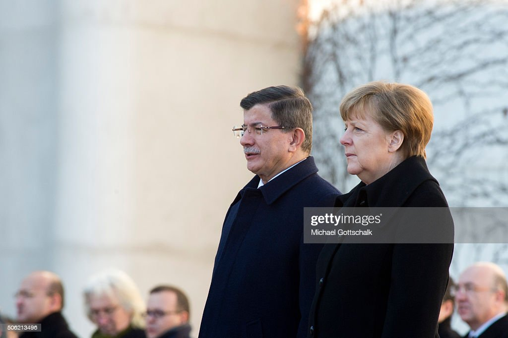 German Chancellor Angela Merkel and Turkish Prime Minister <a gi-track='captionPersonalityLinkClicked' href=/galleries/search?phrase=Ahmet+Davutoglu&family=editorial&specificpeople=4940018 ng-click='$event.stopPropagation()'>Ahmet Davutoglu</a> meet for German-Turkish Government Consultations at the Chancellery on January 22, 2016 in Berlin, Germany. The two governments are meeting amidst Europe's need for cooperation from Turkey in stemming the flow of refugees and migrants seeking asylum in Europe as well as in the ongoing military campaign against the Islamic State (IS).