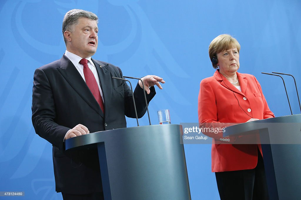 German Chancellor Angela Merkel and Ukrainian President Petro Poroshenko give statements to the media prior to talks at the Chancellery on May 13, 2015 in Berlin, Germany. The two leaders are meeting on the heels of a meeting between Russian President Vladimir Putin and U.S. Secretary of State John Kerry the day before in ongoing talks over the confict in the Donbas region of eastern Ukraine.