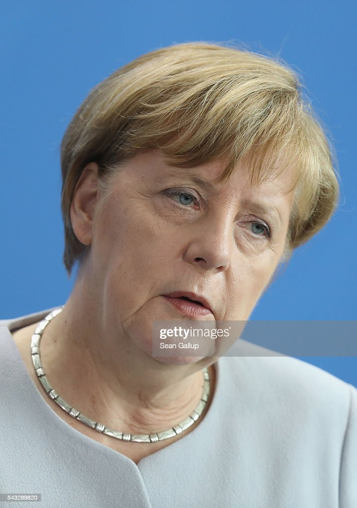 German Chancellor <a gi-track='captionPersonalityLinkClicked' href=/galleries/search?phrase=Angela+Merkel&family=editorial&specificpeople=202161 ng-click='$event.stopPropagation()'>Angela Merkel</a> and Ukrainian Prime Minister Volodymyr Groysman (not pictured) speak to the media following talks at the Chancellery on June 27, 2016 in Berlin, Germany. Merkel is scheduled to receive French President Francois Hollande, Italian Prime Minister Matteo Renzi and European Council President Donald Tusk later today to discuss the consequences of last week's Brexit vote.