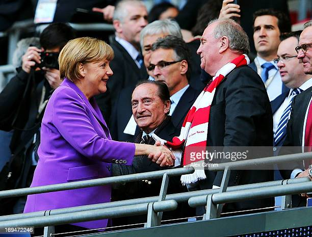 German Chancellor Angela Merkel and Uli Hoeness President of Bayern Muenchen ahead of the UEFA Champions League final match between Borussia Dortmund...
