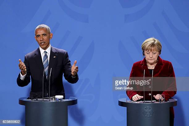 German Chancellor Angela Merkel and US President Barack Obama attend a joint press conference at the Chancellery on November 17 2016 in Berlin...