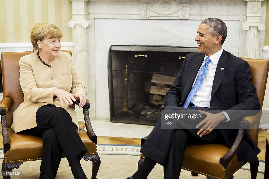 German Chancellor <a gi-track='captionPersonalityLinkClicked' href=/galleries/search?phrase=Angela+Merkel&family=editorial&specificpeople=202161 ng-click='$event.stopPropagation()'>Angela Merkel</a> and U.S. President <a gi-track='captionPersonalityLinkClicked' href=/galleries/search?phrase=Barack+Obama&family=editorial&specificpeople=203260 ng-click='$event.stopPropagation()'>Barack Obama</a> hold a bilateral meeting in the Oval Office at the White House on May 2, 2014 in Washington, DC. Obama and Merkel emphasizied their continued support for the new government in Ukraine and their criticism of Russia after the failure of last month's Geneva Agreement. The Ukranian military said Friday that pro-Russian militants in the eastern part of the country had used sophisticated weapons to shoot down two of its helicopters.
