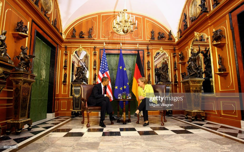 German Chancellor <a gi-track='captionPersonalityLinkClicked' href=/galleries/search?phrase=Angela+Merkel&family=editorial&specificpeople=202161 ng-click='$event.stopPropagation()'>Angela Merkel</a> (R) and U.S. President <a gi-track='captionPersonalityLinkClicked' href=/galleries/search?phrase=Barack+Obama&family=editorial&specificpeople=203260 ng-click='$event.stopPropagation()'>Barack Obama</a> meet for bilateral talks in the 'Gruenes Gewoelbe' (Green Vault) at Dresden Castle on June 5, 2009 in Dresden, Germany. Obama will visit Buchenwald, a former Nazi concentration camp, later today.