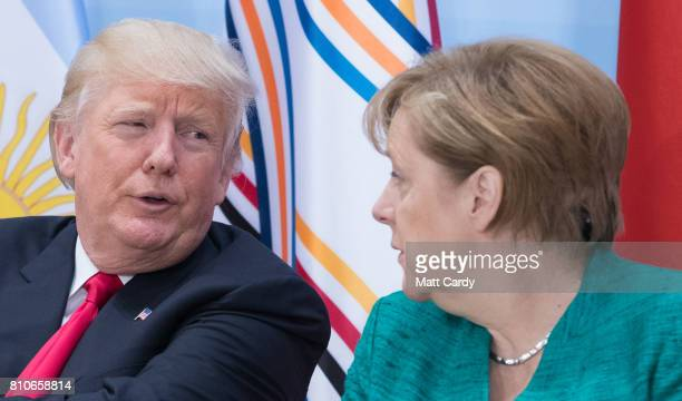 German Chancellor Angela Merkel and US President Donald Trump attend a panel discussion titled 'Launch Event Women's Entrepreneur Finance Initiative'...