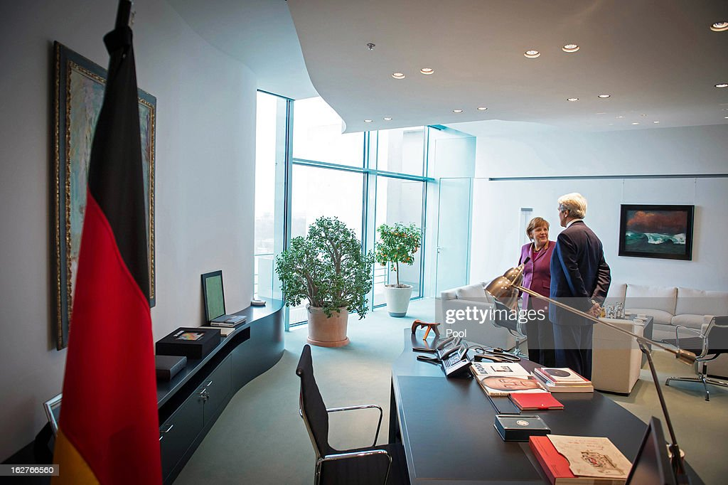 German Chancellor Angela Merkel (L) and U.S. Secretary of State John Kerry (R) are seen at the start of their meeting, in the Chancellery on February 26, 2013 in Berlin, Germany. Kerry is in Germany on his first visit abroad as secretary of state, on an 11-day trip that will also take in Paris, Rome, Ankara, Cairo, Riyadh, Abu Dhabi and Doha, before he returns to the United States on March 6. Kerry spent yesterday in London, holding talks with Prime Minister David Cameron and Foreign Secretary William Hague.