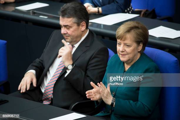 German Chancellor Angela Merkel and Vice Chancellor and Foreign Minister SIgmar Gabriel attend the swearingin ceremony of new German President...