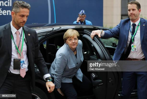 German Chancellor Angela Merkel arrives ahead of a European Council Meeting at the Council of the European Union building on October 19 2017 in...