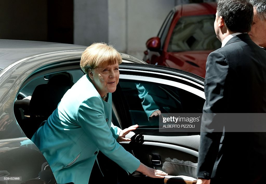 German Chancellor Angela Merkel arrives at Rome's Palazzo Chigi on May 5, 2016 for a meeting with Italian Prime Minister. EU president Donald Tusk travels to Rome Thursday with fellow EU institution leaders and German Chancellor Angela Merkel for two days of talks likely to focus on next steps in Europe's migrant crisis. Prime Minister Matteo Renzi, who fears Italy becoming the new migrant frontline after the closure of the Balkan route, will host the first day of talks, followed by Pope Francis on Friday. PIZZOLI