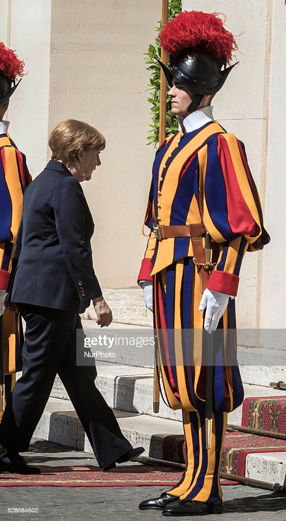German Chancellor Angela Merkel arrives at the Apostolic Palace to attend a private audience with Pope Francis in Vatican City, Vatican on May 06, 2016.