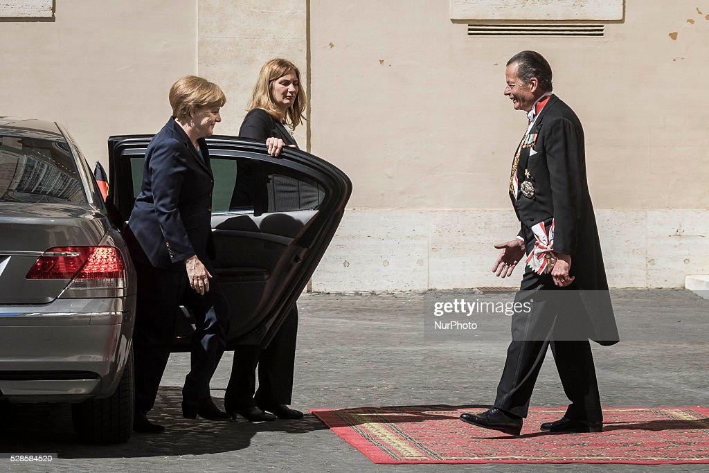 German Chancellor <a gi-track='captionPersonalityLinkClicked' href=/galleries/search?phrase=Angela+Merkel&family=editorial&specificpeople=202161 ng-click='$event.stopPropagation()'>Angela Merkel</a> arrives at the Apostolic Palace to attend a private audience with Pope Francis in Vatican City, Vatican on May 06, 2016.