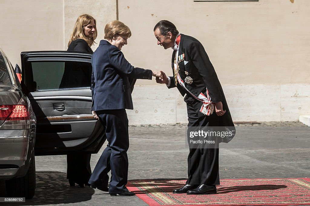 German Chancellor Angela Merkel arrives at the Apostolic Palace to attend a private audience with Pope Francis.